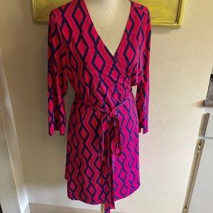 Just fab wrap style dress pink blue geometric XXL